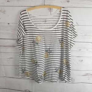 Lane Bryant Pinapple Print Striped Blouse Sz 22/24